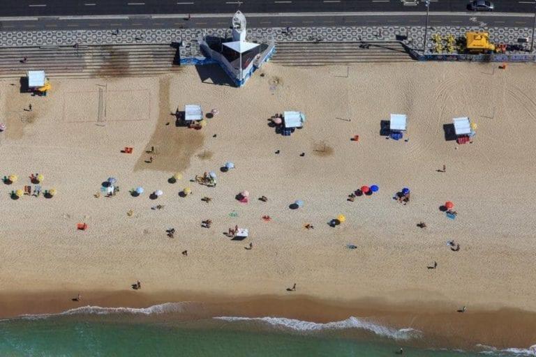 Foto do helicóptero praia de Copacabana.