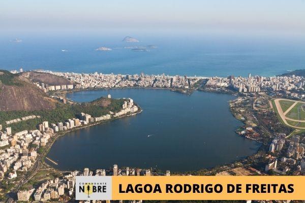 Foto panorâmica da Lagoa Rodrigo de Freitas.