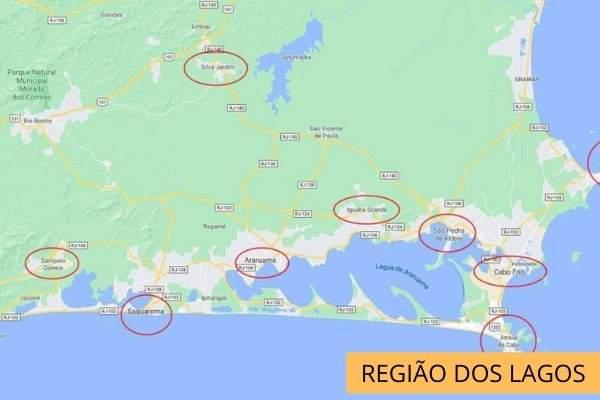 Mapa da região dos Lagos no Rio de Janeiro.
