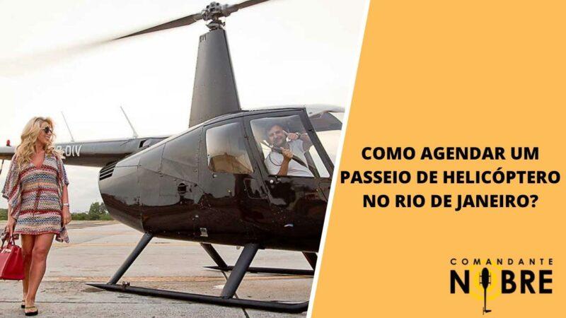 Mulher indo realizar passeio de helicóptero no Rio de Janeiro.
