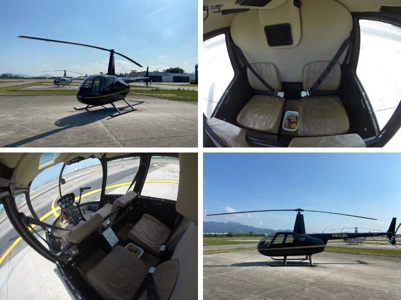 Imagens do helicóptero onde o passeio é realizado.